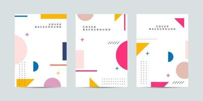 Colorful Memphis-style poster set with geometric shapes vector