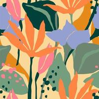 Contemporary seamless pattern with colorful flowers