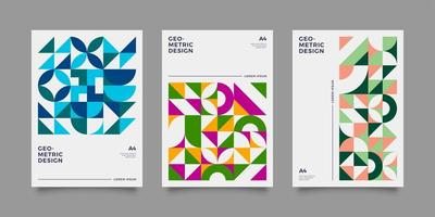 Colorful Bauhaus-style poster set with geometric shapes vector