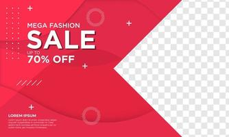 plantilla de banner de mega venta de moda vector