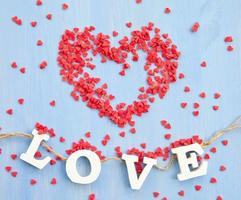 Red sugar hearts photo