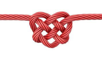 Red heart shaped knot