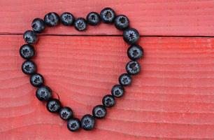 Heart Shape Made From Blueberries photo