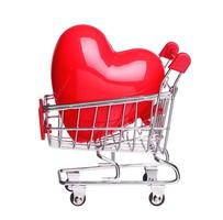 heart in shopping cart concept isolated on white