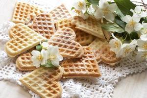 Baked heart waffles photo