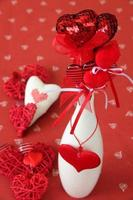 Heart decorations in a vase