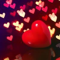 Valentine Red Heart over Bokeh in dark photo