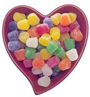 Candy Spice Drops in a Red Heart Shaped Bowl photo