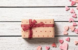Gift box with hearts photo