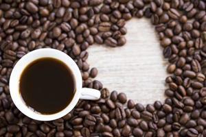 Heart shaped coffee beans photo
