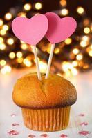 cupcake con dos corazones foto