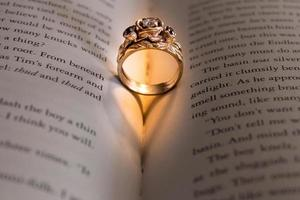 Wedding rind with a heart shadow in a book photo