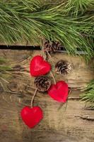 Red wooden Christmas hearts