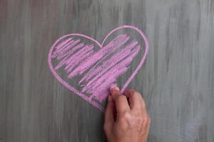 chalk drawing heart shape photo