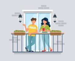 People on balcony, coronavirus concept vector
