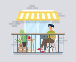 Man working on balcony, work from home concept vector
