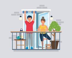 People on balcony doing workout, coronavirus concept vector