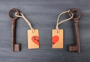 Keys to heart, Conceptual photo. On color wooden background