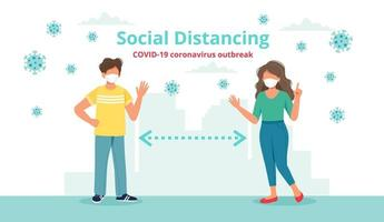 Social distancing concept with two people at a distance waving