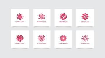 Set of Pink Flower Logos vector