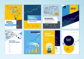 Set of brochure and report cover design templates  vector