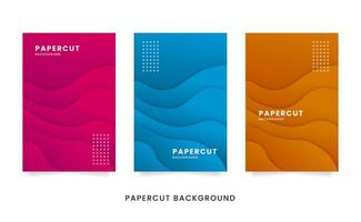 conjunto de tarjeta de papercut ondulado abstracto vector