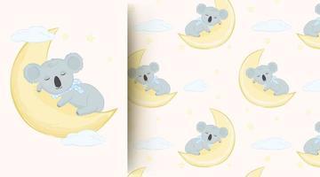 Little koala sleeping on the moon pattern