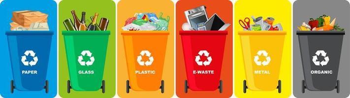 Papeleras de reciclaje de colores con símbolo de reciclaje aislado vector