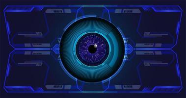 Fondo de concepto de tecnología futura de circuito cibernético de ojo azul vector