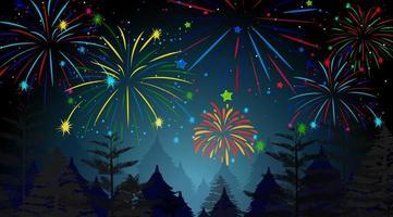 bosque con escena de celebración de fuegos artificiales