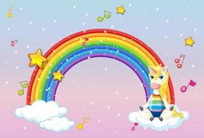 banner con lindo unicornio en cielo pastel vector