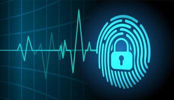 sfondo di sicurezza informatica di rete di impronte digitali vettore