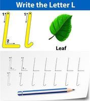 Letter L tracing alphabet worksheet with leaf  vector