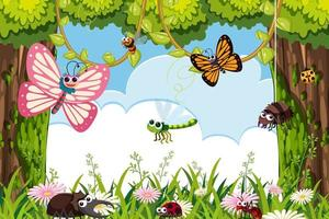 Bugs in jungle scene frame vector