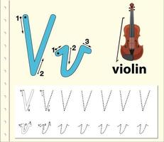 Tracing letter V template worksheet with violin