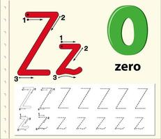 Letter Z tracing alphabet worksheet with zero