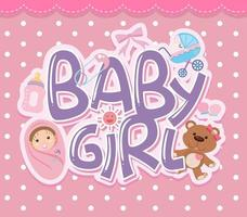 Baby girl text and elements vector