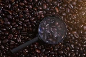 Magnifying glass on coffee beans