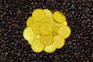 Gold coins placed on coffee beans