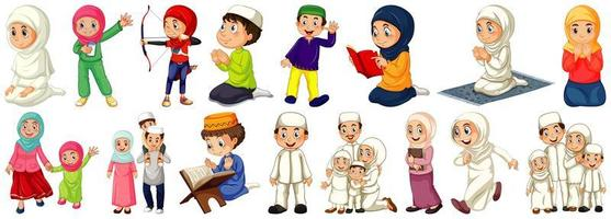Set of different Muslim people cartoon characters