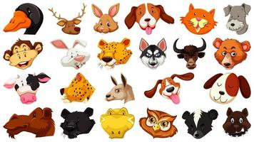 Set of different cute cartoon animals