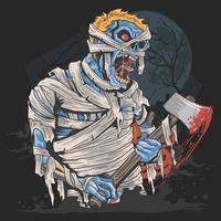 Halloween mummy carrying an axe vector
