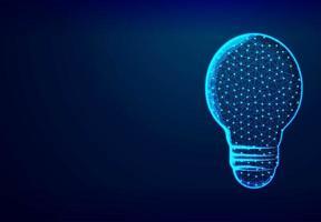 Low Polygon Lightbulb Wireframe Mesh vector