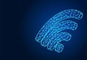 Polygonal Wifi Icon Low Poly Wireframe