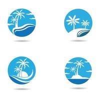 Blue sunset beach logo set vector