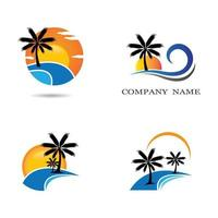 Sunset beach logo set