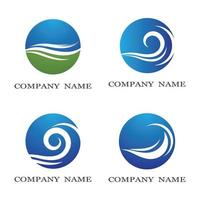 Water wave logo set