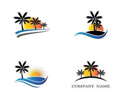 Palm tree summer icon set