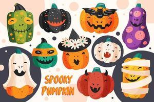Cute spooky pumpkin set vector
