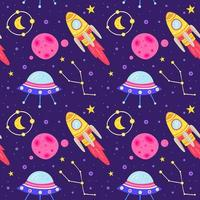 Cute outer space seamless pattern background vector